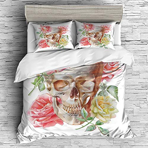 Cotton Bedding Sets Duvet Cover with Pillowcases Printed Comforter Cover Sets(King Size) Skull,Skull with Roses Living and The Dead Humor Romantic Evil Face Image Art Deco,Pink Beige Yellow