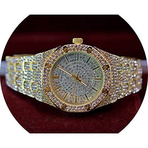 Full ICED Out Flashy Bling Clubbing Octagon Shaped with Lab Simulated Diamonds Bling Dial Watch