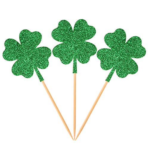 (Donoter 36 Pcs Four Leaf Clover Cupcake Toppers Glitter Green Shamrock Food Picks for St.Patrick's Day Party Cake Decoration)