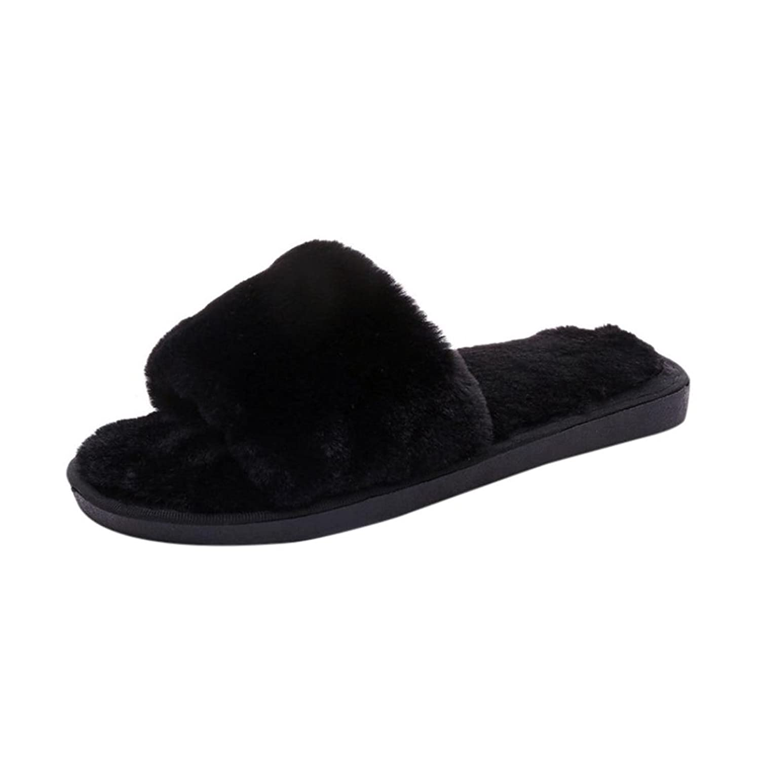 Women Flat Slipper Inkach Stylish Girls Flip Flops Faux Fuzzy Fur Flat Sandal Slipper Warm Shoes