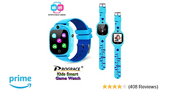 PROGRACE Kids Smartwatch with 90°Rotatable Camera Touchscreen Kids Watch Music Pedometer Flashlight Games FM Radio Kids Smart Watch Sports Watches ...