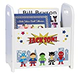 Personalized Boys Super Hero White Book Caddy and Rack