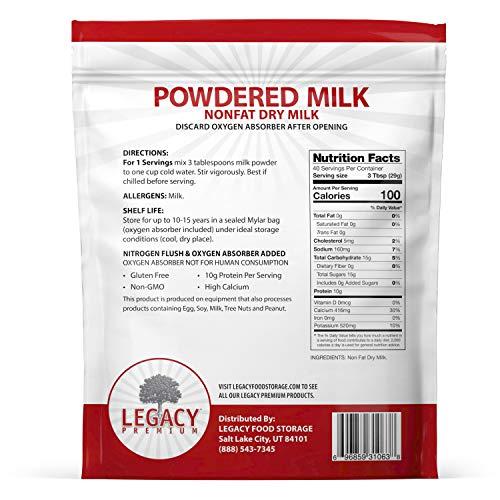 Legacy Essentials Long Term Powdered Milk - 5 Year Shelf
