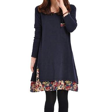 Pièces Hiver Manches Couture Robe Femmes Deux Longues D'automne Hz7a0F