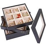 Valdler Stackable Jewelry Box Trays Set of 4 Jewelry Storage Trays & Jewelry Organizer