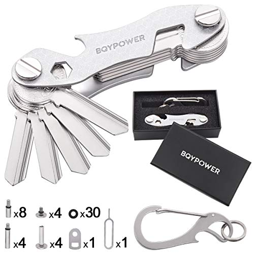 - Smart Compact Key Organizer - Keychain & Stainless Steel- Pocket Key Holder Up to 22 Keys- Loop Piece for Car FOB, Includes Sim & Bottle Opener, Phone Stand, Carabiner & More (Silver)
