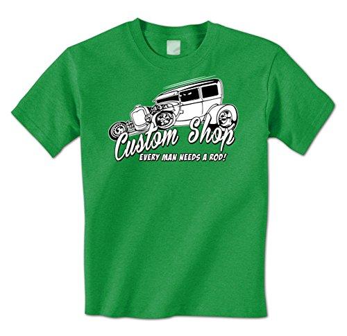 Custom Shop - Every Man Needs A Rod Funny Hot Rod Classic Car Mens T-Shirt XXL Kelly