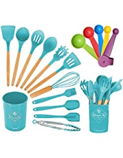 Kitchen Utensil Set - 17 Pieces Cooking Utensils Set - Not-Stick Heat Resistant Silicone Utensil Set with Easy Grip Handles - Includes Spatula Spoon Turner Tongs (Teal)