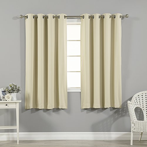 Best Home Fashion Thermal Insulated Blackout Curtains - Stainless Steel Nickel Grommet Top - Beige - 52