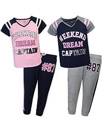 Girl's 4-Piece Varsity Pajama Sleepwear Set (2 Full Sets)