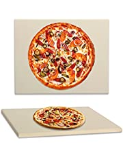"""KAMaster Pizza Stone for Oven and Grill,Heavy Duty Baking Stone for Bread,High Temperature Resistant Rectangular Pizza Pan for Best Crispy Crust Pizza,Durable and Safe Pizza Grilling Stone 11.3x15"""""""