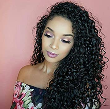 get cheap exclusive shoes amazing selection Full Lace Wigs Deep Curly Pre Plucked Human Hair Full Lace Wigs with Baby  Hair 130% Density for Black...