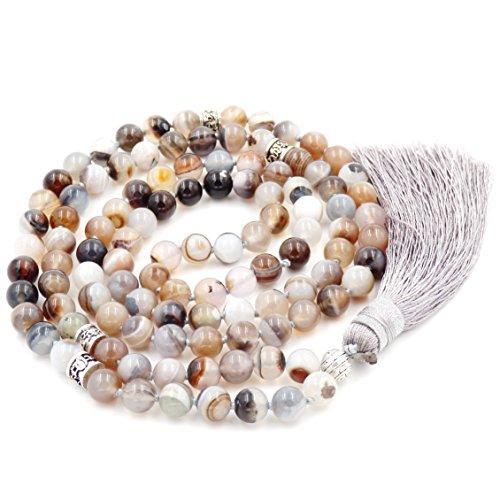 Mala Beads Necklace, Gemstone Mala Bracelet, Buddhist Prayer Beads Necklace, Tassel Necklace, Knotted Necklace (Botswana Agate) ()