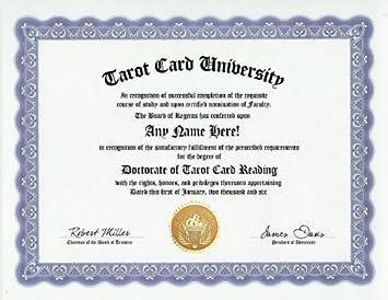 com tarot card reading reader degree custom gag diploma  tarot card reading reader degree custom gag diploma doctorate certificate funny customized joke gift