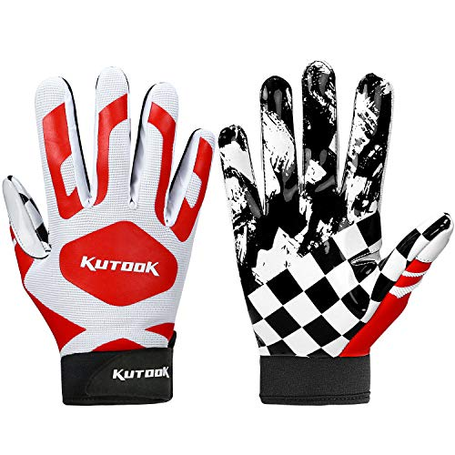 Kutook Football Gloves Receiver Gloves Sticky Gloves Palm Protection Men Red Large
