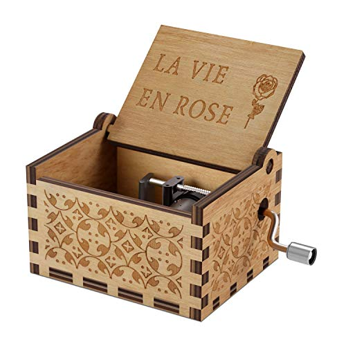Wood Music Boxes- La Vie En Rose Carved Hand Crank Musical Box Wooden Classic Handmade Engraved Valentines Birthday Gift for Kids, Boys, Girls, Friends ()