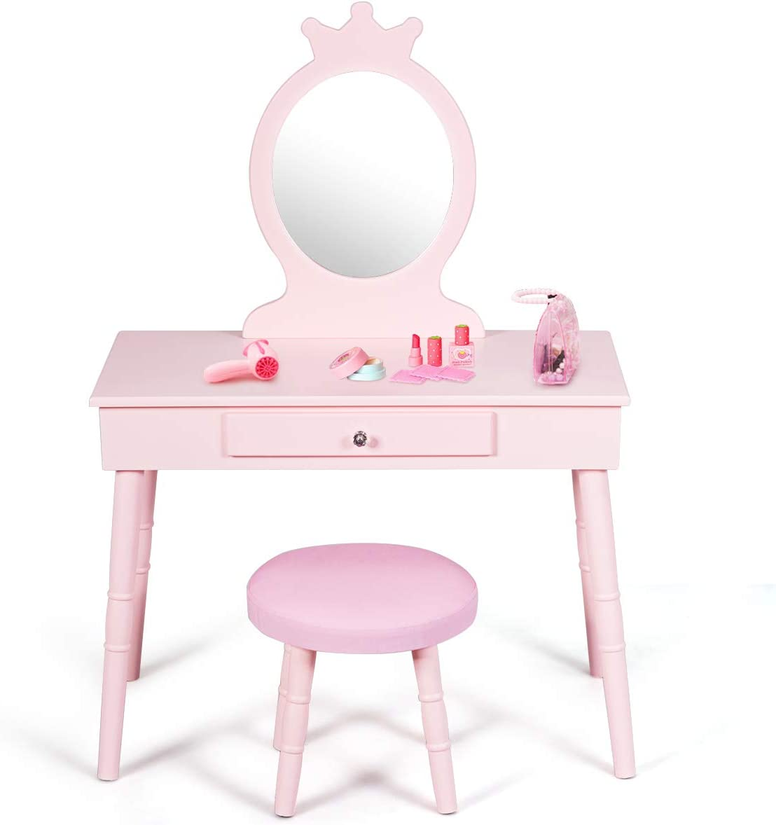 HONEY JOY Kids Vanity Table Set, Princess Beauty Dressing Wooden Table and Chair Vanity Set, Little Girls Pretend Makeup Play Set with Crown Mirror & Cushioned Stool, Children's Room Furniture (Pink)