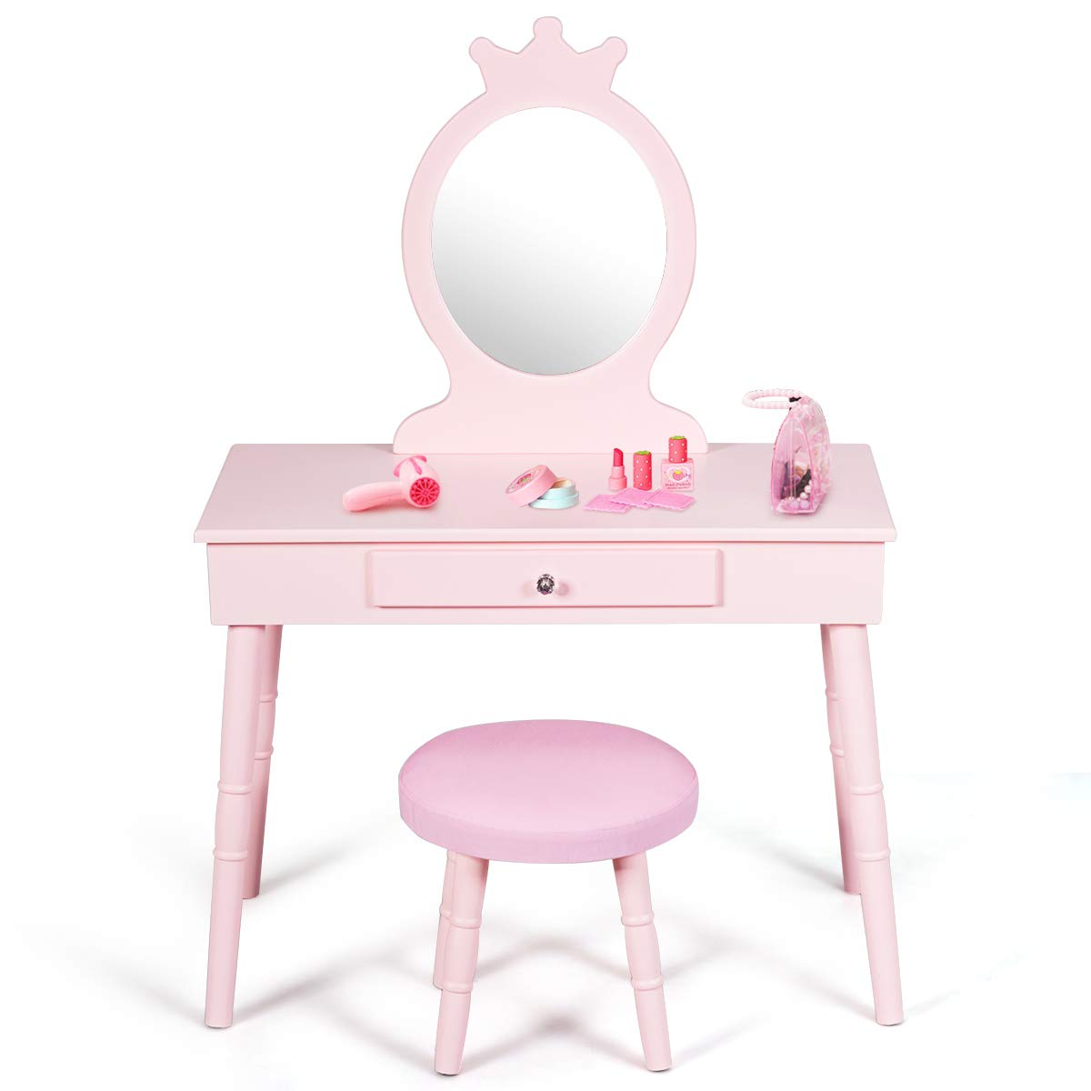 Costzon Kids Vanity Set, Wooden Princess Makeup Table with Cushioned Stool, Large Drawer and Crown Mirror, Pretend Beauty Make Up Dressing Play Set for Girls, Pink by Costzon