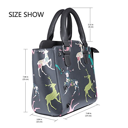 TIZORAX Christmas Bags Handbags TIZORAX Shoulder Deer Tote Leather Christmas Women's gragqWSH