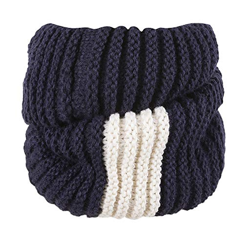 Price comparison product image Clearance Sale Womens Scarf FEDULK Winter Warm Knitted Patchwork Cowl Infinity Soft Wrap Shawl(Navy,  One Size)