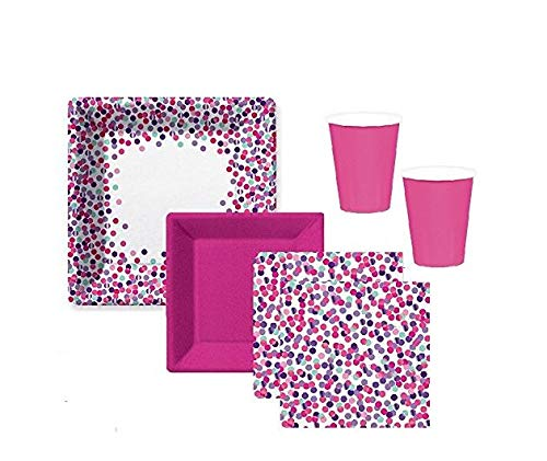 Confetti Party Supplies - Birthday Bridal Shower or Baby Colors in Pink Magenta Purple Lavendar Tableware for 16 Guests Great Quality Extra Large Plates, Small Plates, Napkins And Cups