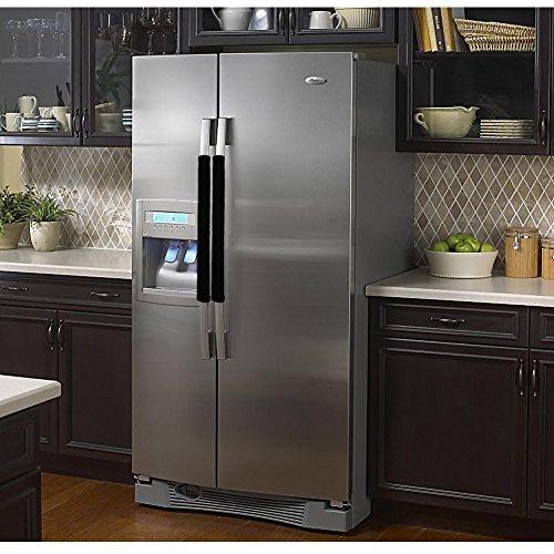 Vezfinel Refrigerator Door Handle Covers,Fridge Oven Dishwasher Protectoer,Catch Fingerprints&Smudges Kitchen Appliances Handmade Decoration (Black lattice)