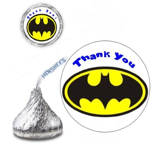 108 Batman Bat Birthday Hershey Kisses Stickers Party Favors]()