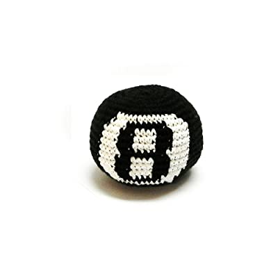 Mia Jewel Shop Guatemalan Handcrafted Crochet Pattern Hacky Ball Foot Bag Sack 8 Ball (Black): Sports & Outdoors