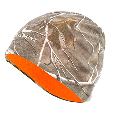 SEALSKINZ Unisex Waterproof Cold Weather Realtree Xtra Camo Reversible Beanie, Realtree/Beige/Orange, Large/X-Large