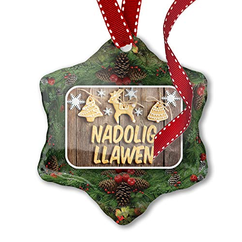NEONBLOND Christmas Ornament Merry Christmas in Welsh from Wales, United Kingdom (Christmas Traditions United Kingdom)