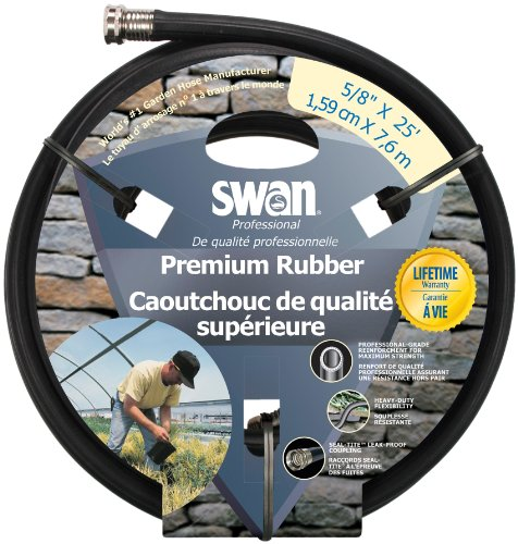 Swan Premium Rubber SNCPM58025 Heavy Duty 5/8-Inch by 25-Foot Black Water Hose (Water Swan Hose)