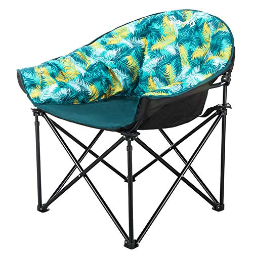 - KingCamp Moon Saucer Leisure Heavy Duty Steel Camping Chair Padded Seat (Grey with Cup Holder and Cooler Bag) (Green)