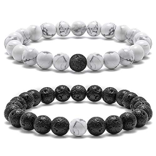 Bracelets With Beads (Natural Stone Bead Bracelets, 8mm Natural White Howlite Black Lava RockBead Bracelets, Men Women Stress Relief Yoga Beads Aromatherapy Essential Oil Diffuser Elastic Bracelet Bangles ( 2)
