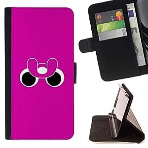 BullDog Case - FOR/Samsung Galaxy S4 Mini i9190 / - / funny eyes pink purple minimalist /- Monedero de cuero de la PU Llevar cubierta de la caja con el ID Credit Card Slots Flip funda de cuer