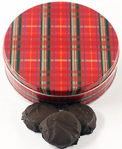 Scott's Cakes Dark Chocolate Covered Cool Mint Oreos in a Large Plaid Tin