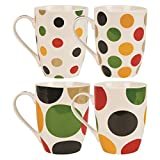 Invero® Set of 4 Large 340ml Stoneware Polka Dot Spotted Colour Mugs Cups ideal for Tea Coffee Latte Hot Chocolate and more