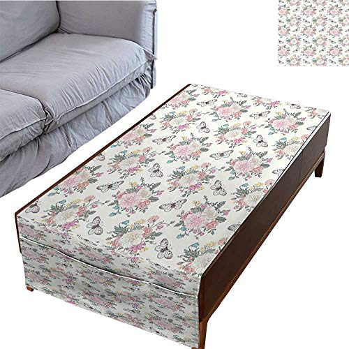 DESPKON-HOME Table Cloth Rectangular Side Pocket Design Peonies Sweet Peas Roses Bouquet and Butterflies Pastel Tones Bridal Theme Soft 27.5