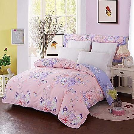 Zhiyuan Funda nórdica 100% algodón, cama 150cm, Rosa y lavanda ...