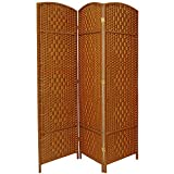 Oriental Furniture Simple Lowest Price Cost Best Room Divider, 6-Feet Tall Diamond Weave Natural Fiber Folding Screen, Dark Beige, 3 Panel Size