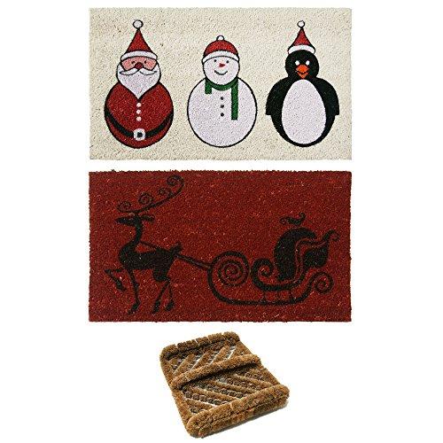 Rubber-Cal 2 Coco Coir Outdoor Christmas Doormats & 1 Herringbone Boot Scraper (Mat Christmas Coir Door)
