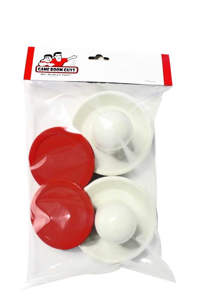 Game Room Guys 2 White Air Hockey Mallets & 2 Large Red Pucks