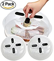 KitchenHero Microwave Cover Magnetic — Microwave Splatter Lid with Steam Vents, Food Cover Splatter Guard — Microwave Hover Cover Dishwasher Safe & BPA-Free (11.5 Inch), 2 Pack