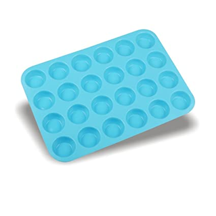 Gessppo Molde de pastel 24 Cavity Mini Muffin Silicone Soap Cookies Cupcake Bakeware Pan Tray Mould