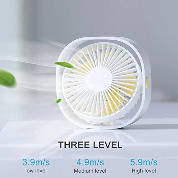 Blue MOSTOP Small Fan USB 3 Speed Desktop Fan Personal Portable Cooling Fan with 360 Rotation Adjustable Angle Quiet Fan for Home Office Outdoor Travel