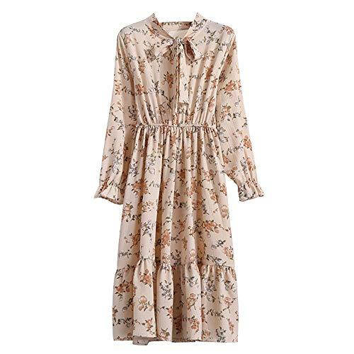 Clearance Sale! Oliviavan Women's Vintage Casual Long Sleeve Dress,Ladies Floral Chiffon Printing Party Boho Maxi Dress