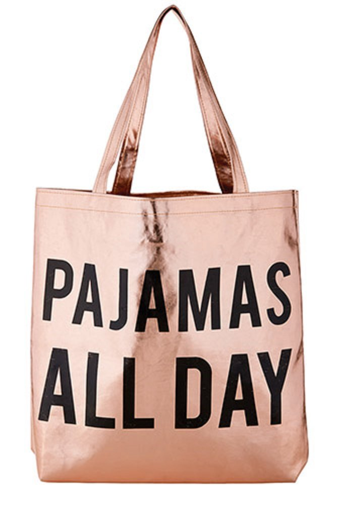 Pack of 2 Pajamas All Day Rose Gold Tote Bags. 16'' X 14.5''.