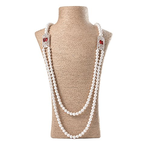Romantic Time Bridal White Akoya Ruby Diamond and Pearl Bead Necklace (vintage)