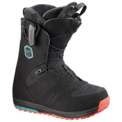 Blue Womens Snowboard Boots - Salomon Snowboards Ivy Snowboard Boot - Women's Black/Teal Blue/Red, 8.5