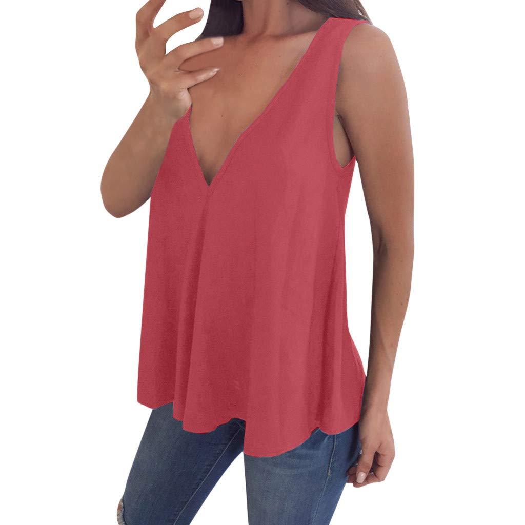 Amazon.com: MOSERIAN Womens V Neck Tank Tops Sleeveless T ...