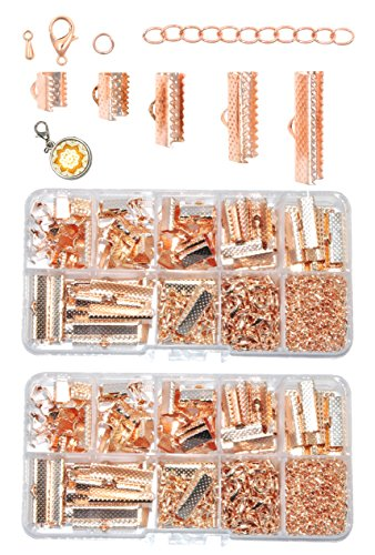Mandala Crafts Fold Over Cord End, Ribbon Clamp with Loop, Crimp Pinch Clasp Finding Box Kit for Bookmark, Jewelry Making (Rose Gold Tone Ribbon End Clamps)